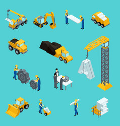 Set isometric icons for construction workers vector