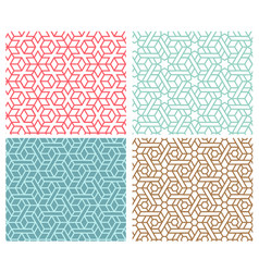 set of indian seamless pattern in thin line style vector image