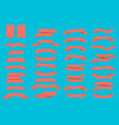 set of ribbons banners in coral color on blue vector image