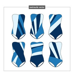 Set of sketches swimwear with an abstract pattern vector