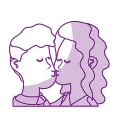 silhouette cute couple kissing a romantic scene vector image