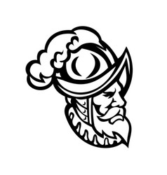 Spanish conquistador wearing a morion mascot vector