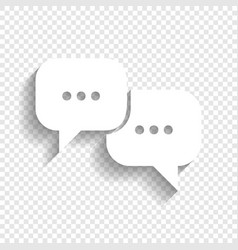 speech bubbles sign white icon with soft vector image