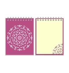 Spiral purple cover notebook with round ornate vector