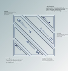 Square divided to five blue parts infographic on vector
