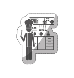 Sticker silhouette chef in the kitchen vector