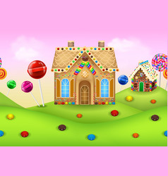 Sweet candyland with gingerbread house vector