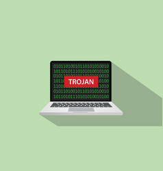trojan hacking with laptop and red sign on laptop vector image