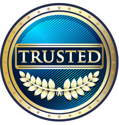 Trusted blue icon vector