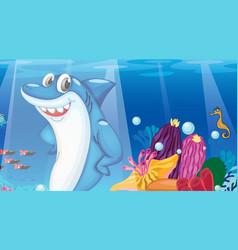 Underwater scene with shark cartoon character vector