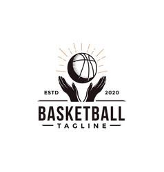 vintage basketball sport team club league logo vector image