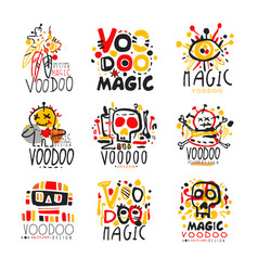Voodoo african and american magic logo set vector
