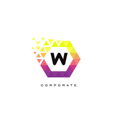 w colorful hexagon shaped letter logo design vector image