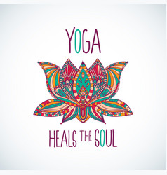Yoga heals the soul typography with lotus vector