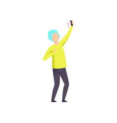 Young man dancing with smartphone having fun at vector