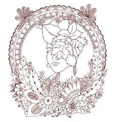 Zen Tangle girl with flowers vector image