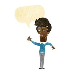 Cartoon bored man waving with speech bubble vector