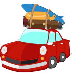 cartoon travelling car vector image vector image