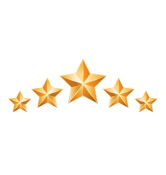 Five gold stars isolated on white background vector image vector image