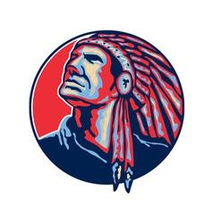 Native American Indian Chief Retro vector image vector image