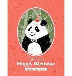 Panda Animal Cartoon Birthday card design vector image