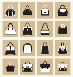 set icons of Fashion Women and men handbags vector image