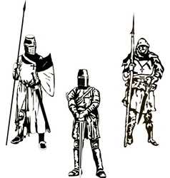 Three Medieval Knights vector image vector image
