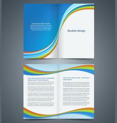 blue bifold brochure template design vector image