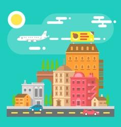 Colorful cityscape scene in flat design vector image vector image