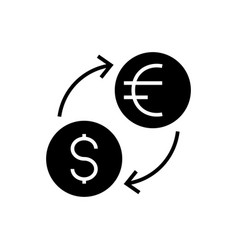 money exchange - dollar euro icon vector image