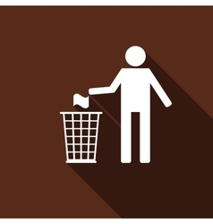 Recycle icon man throwing trash into dustbin icon vector image