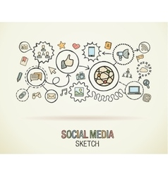 Social media hand draw integrate icons set on vector image