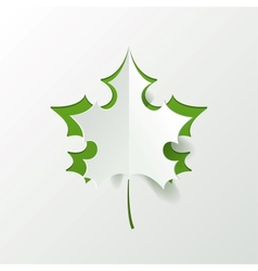 Abstract Green Maple Leaf Isolated on White vector image vector image