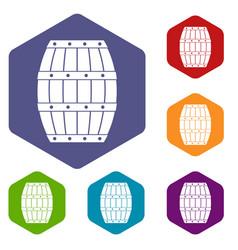 barrel icons set hexagon vector image vector image
