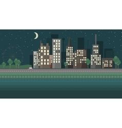Flat design night urban landscape vector