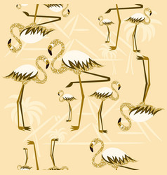 golden flamingo seamless pattern vector image
