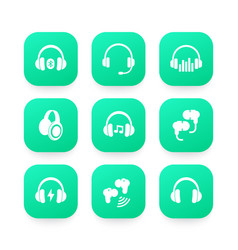headphones wireless earbuds headsets icons vector image vector image