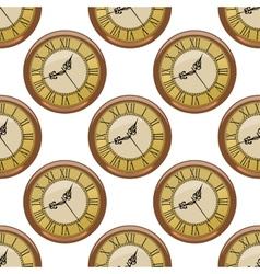 Seamless pattern of vintage clocks vector image