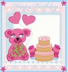 birthday card sweet teddy bear holding heart vector image