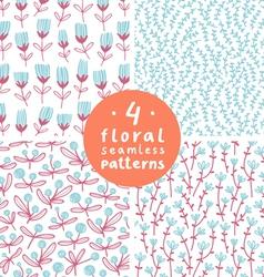 Floral patterns set 3 vector image