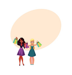 happy black and caucasian women girls friends vector image