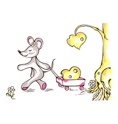 mouse pulls wheelbarrow with the cheese heart vector image vector image