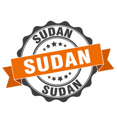 sudan round ribbon seal vector image vector image