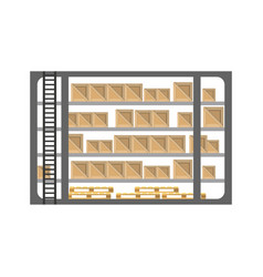 warehouse stand with delivery boxes in flat design vector image vector image