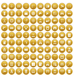 100 keys icons set gold vector