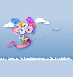 2020 new year design card with kids flying vector