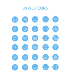30 blue web icons with interior full round vector image