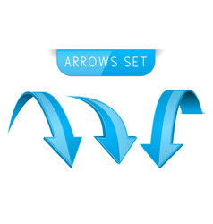 3d blue arrows set vector