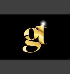 Alphabet letter gt g t gold golden metal metallic vector