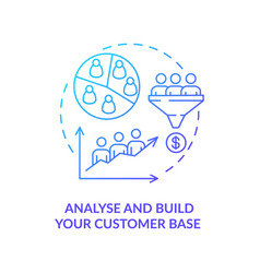 Analyse and build customer base blue gradient vector